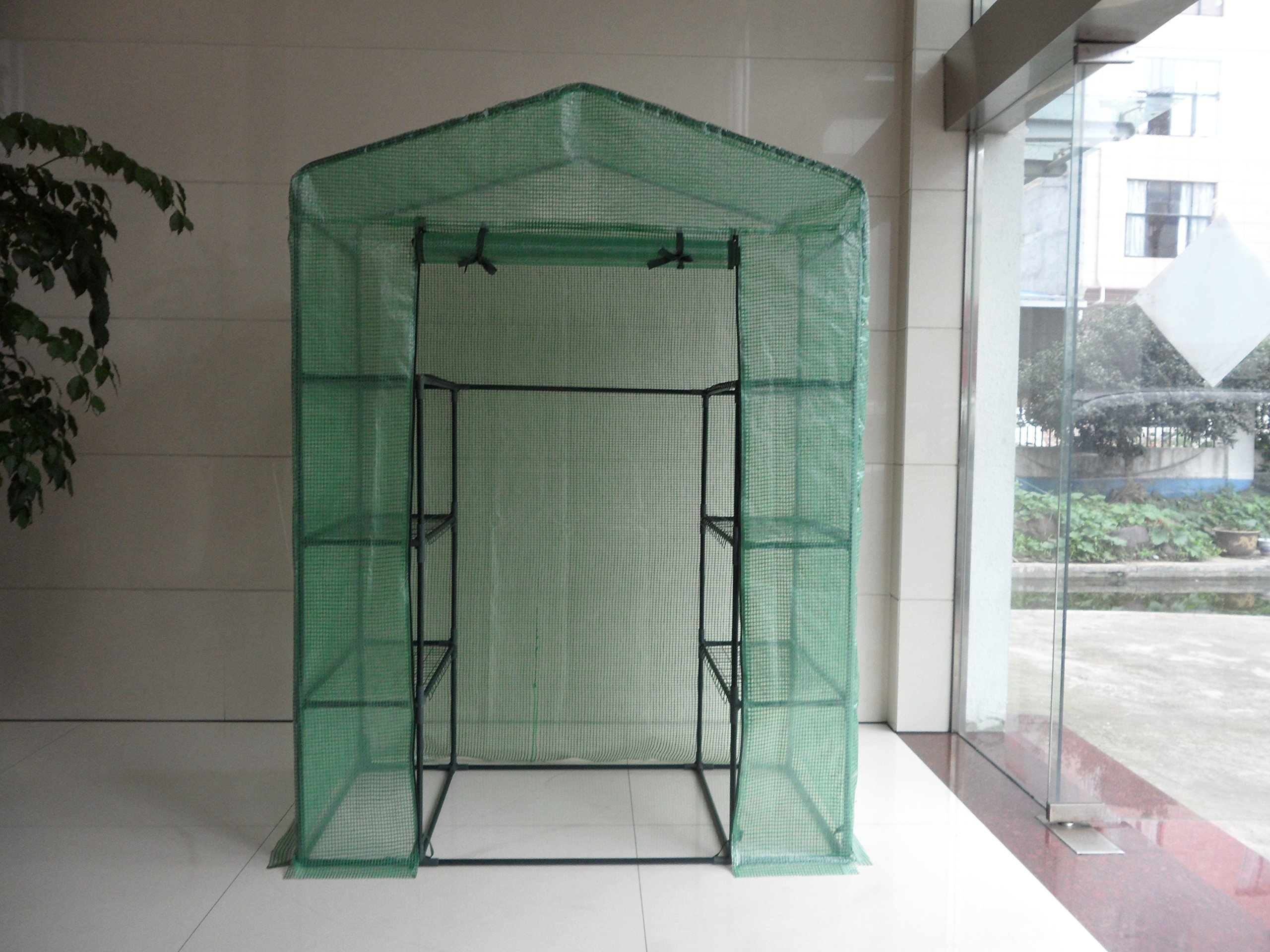 Peaktop Portable Mini Greenhouse Walk in Grow Garden Plant Growing Green House Small Hot Tent 4 Tiers 6 Shelves 78''x56''x30'' Steel Framework with Cover