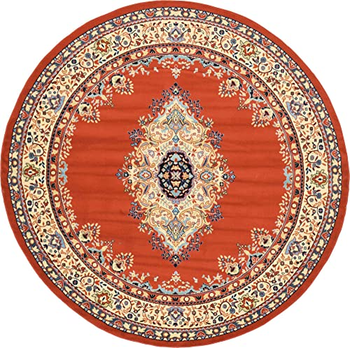 Unique Loom Reza Collection Classic Traditional Terracotta Round Rug 8 0 x 8 0