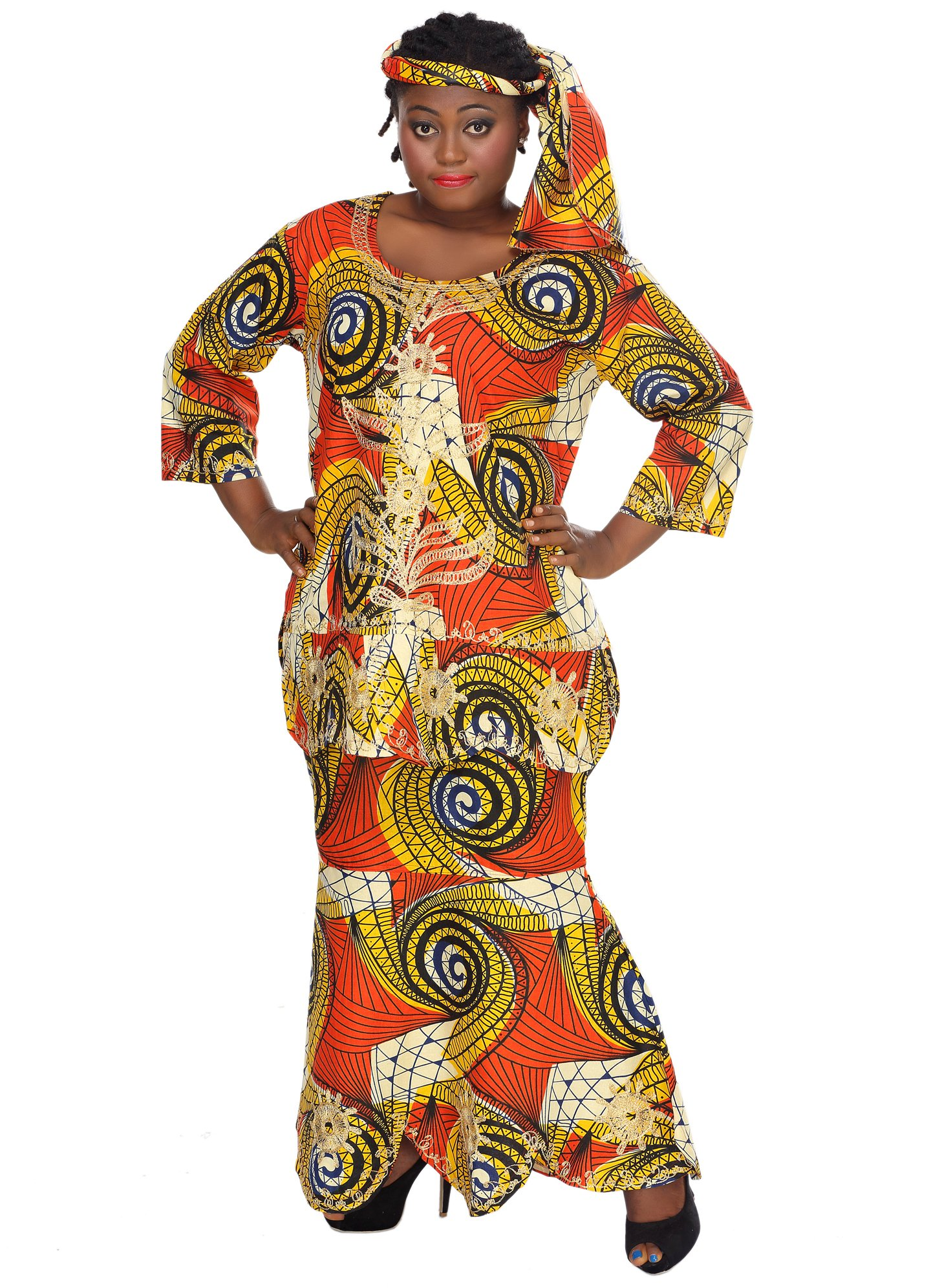 African Planet Women's Ekiwaba Orange Three Piece A-Line Skirt Set Embroidery