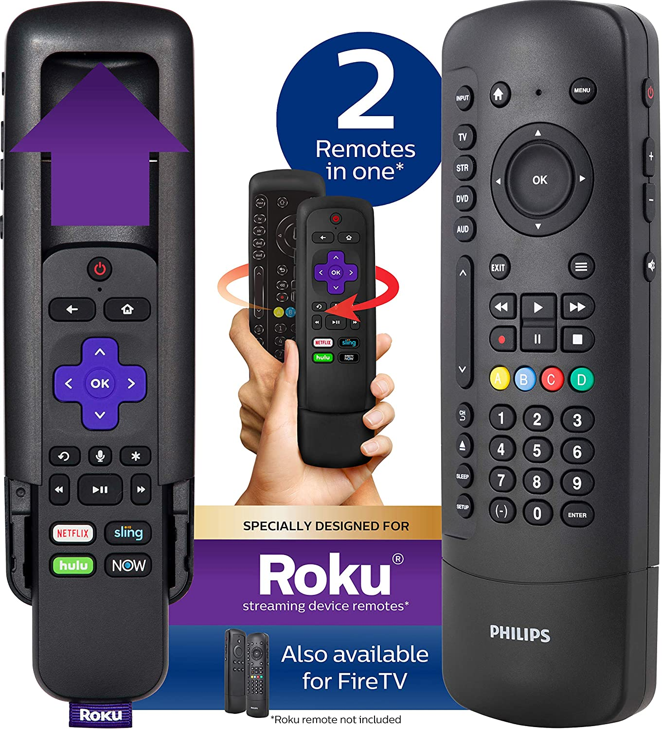 Philips Universal Companion Remote Control for Samsung, Vizio, LG, Sony, Roku, Apple TV, RCA, Panasonic, Smart TVs, Streaming Players, Blu-ray, DVD, 4 Device, Flip & Slide Roku, Black, SRP2024R/27