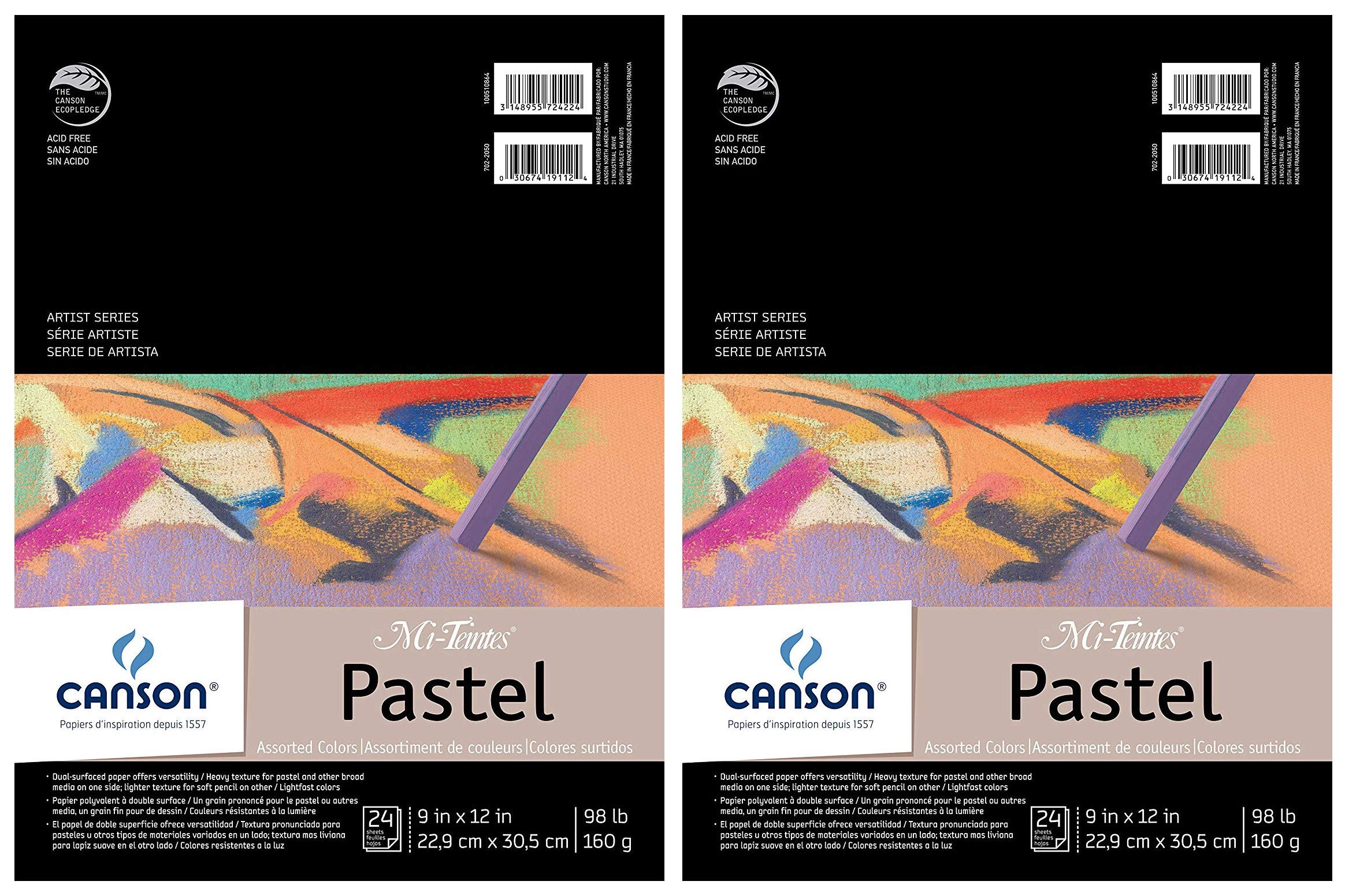 2-Pack - Mi-Teintes Pastel Pad, Assorted Colors 9'' x 12'' Fold Over by Canson