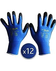 S&R 12 Guantes de trabajo con recubrimiento de PU – 12 pares - Talla XL / 10