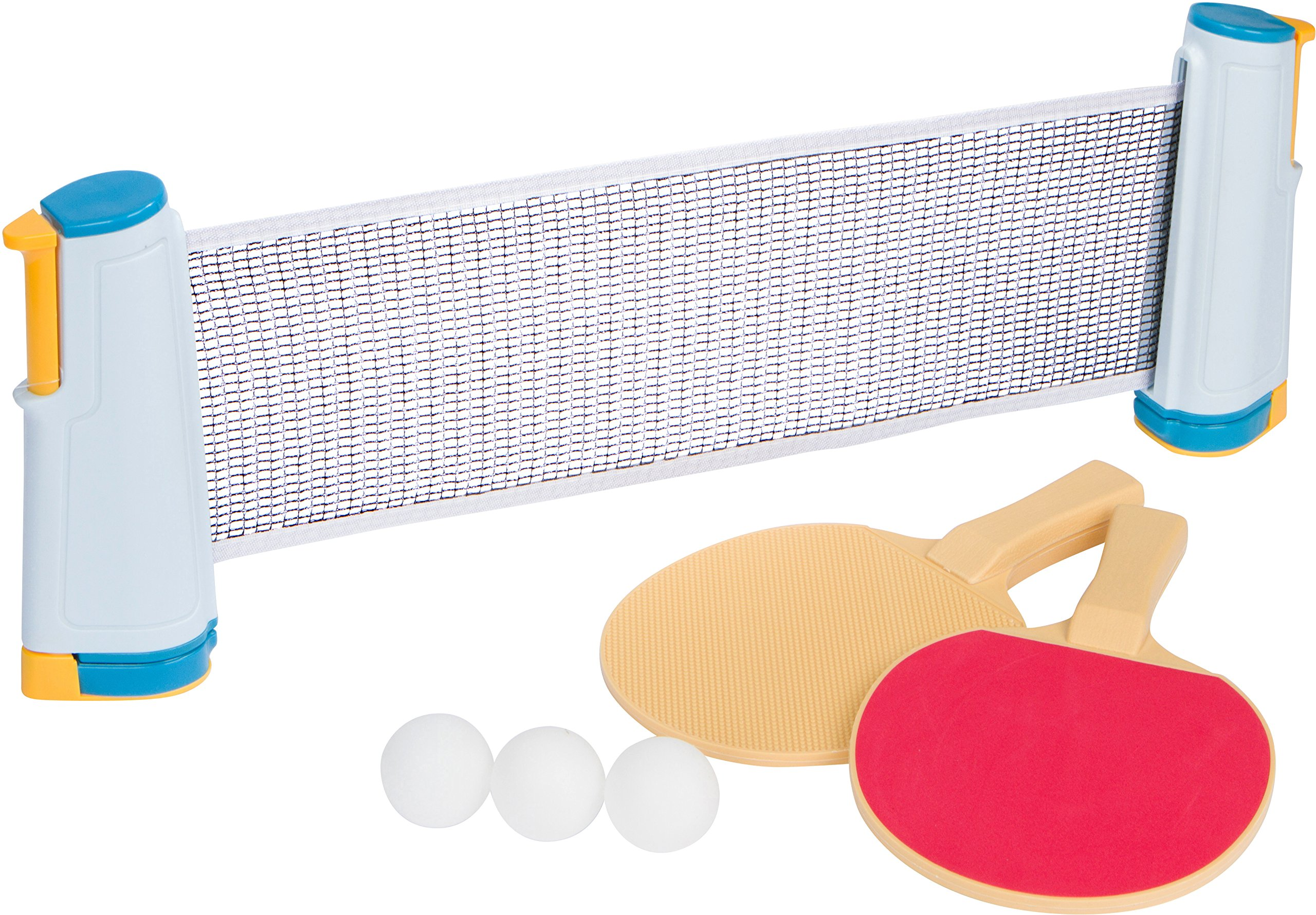 Anywhere Table Tennis Set with Paddles & Balls by Trademark Innovations (Blue and Yellow)