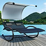 JARDER EXCLUSIVE DOUBLE ROCKING SUN LOUNGER BED, BEIGE SHADE CANOPY COMPLETE WITH CUSHIONS