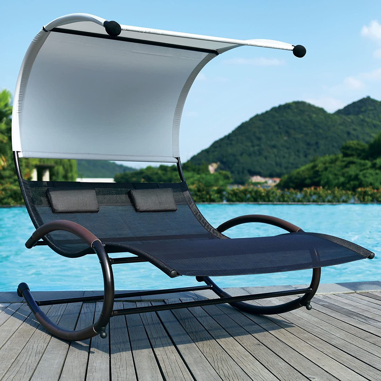 Sun Lounger With Canopy Amp Vidaxl Sun Lounger With Canopy