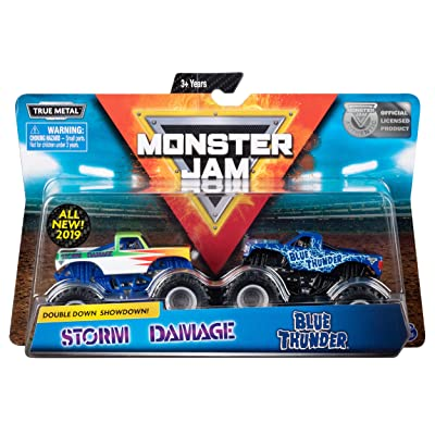 Monster Jam Official Blue Thunder vs. Storm Damage Die-Cast Monster Trucks, 1:64 Scale, 2 Pack: Toys & Games