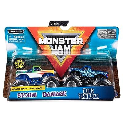 Monster Jam Official Blue Thunder vs. Storm Damage Die-Cast Monster Trucks, 1:64 Scale, 2 Pack: Toys & Games [5Bkhe0305248]