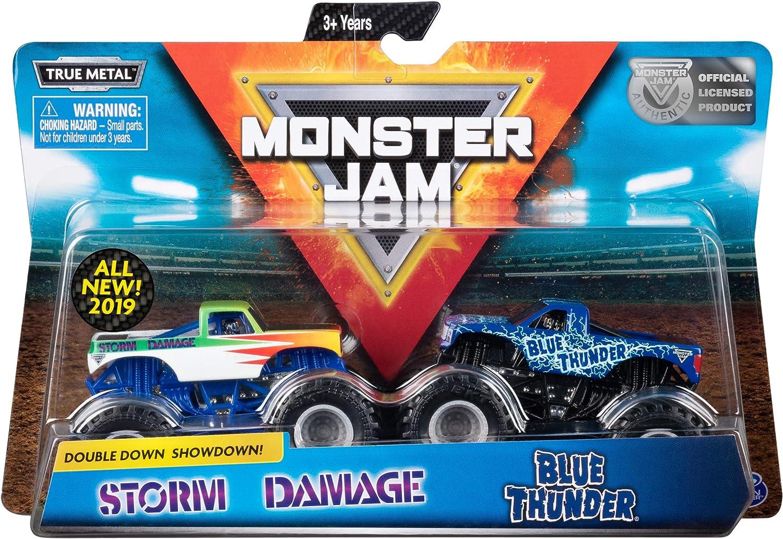 Monster Jam Official Blue Thunder vs. Storm Damage Die-Cast Monster Trucks, 1:64 Scale, 2 Pack
