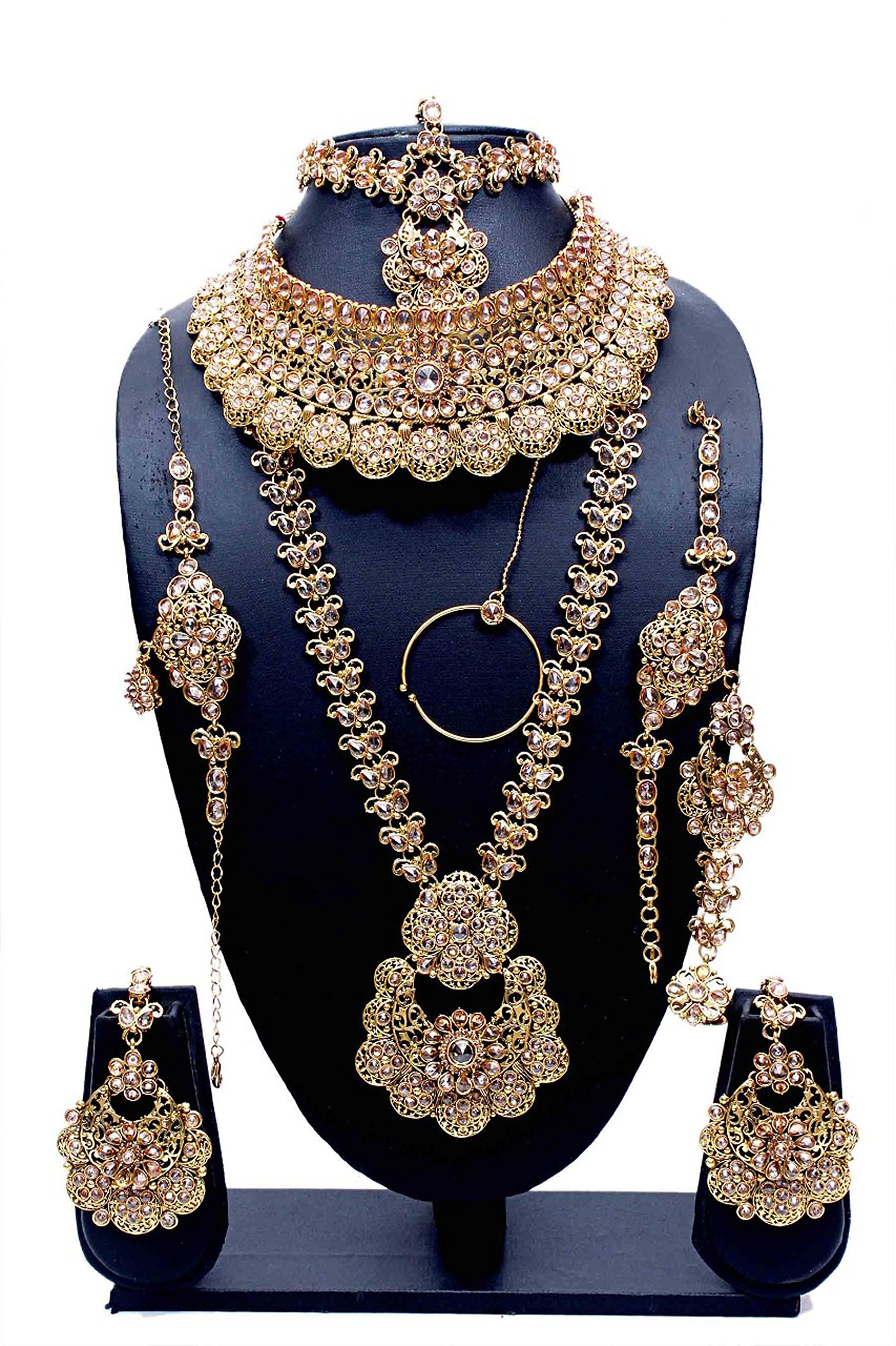 Indian Style Golden Plated Crystal Stone Polki Indian Necklace Earrings Bridal Set Traditional Jewelry
