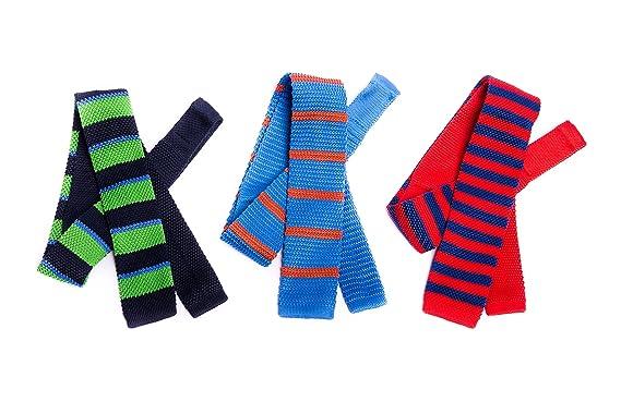 OfficePunk Corbata de lana tricotada rayada en rojo, azul y verde ...