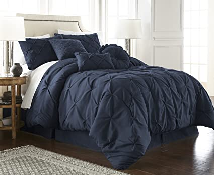 chezmoi collection sydney com cal 7 piece pintuck bedding comforter set california king - Navy Bedding