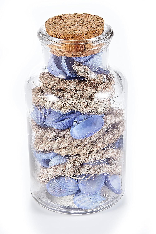 Set de Botellas de Vidrio con Conchas, Azul, 11 x 11 x 11 cm, 2 Unidades de Medida: Amazon.es: Hogar