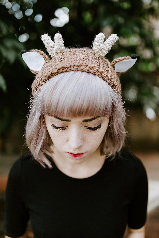Amazon.com  Tsuno - Handmade Crochet Deer Antlers Headband Ear Warmer  Animal Ears Deer Antler Headband  Handmade 69902b2c74a