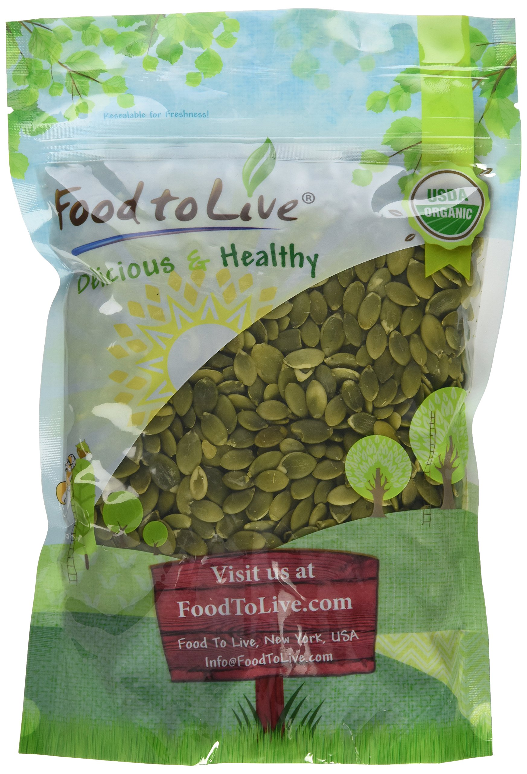 Food to Live Organic Pepitas / Pumpkin Seeds (Raw, No Shell, Kosher) (1 Pound)