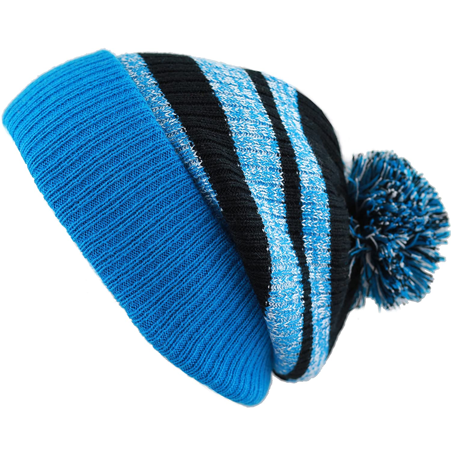 5a73105e THE HAT DEPOT Striped Cuffed Knit Beanie Winter Hat with Pom Hat  (Black-Royal) at Amazon Men's Clothing store: