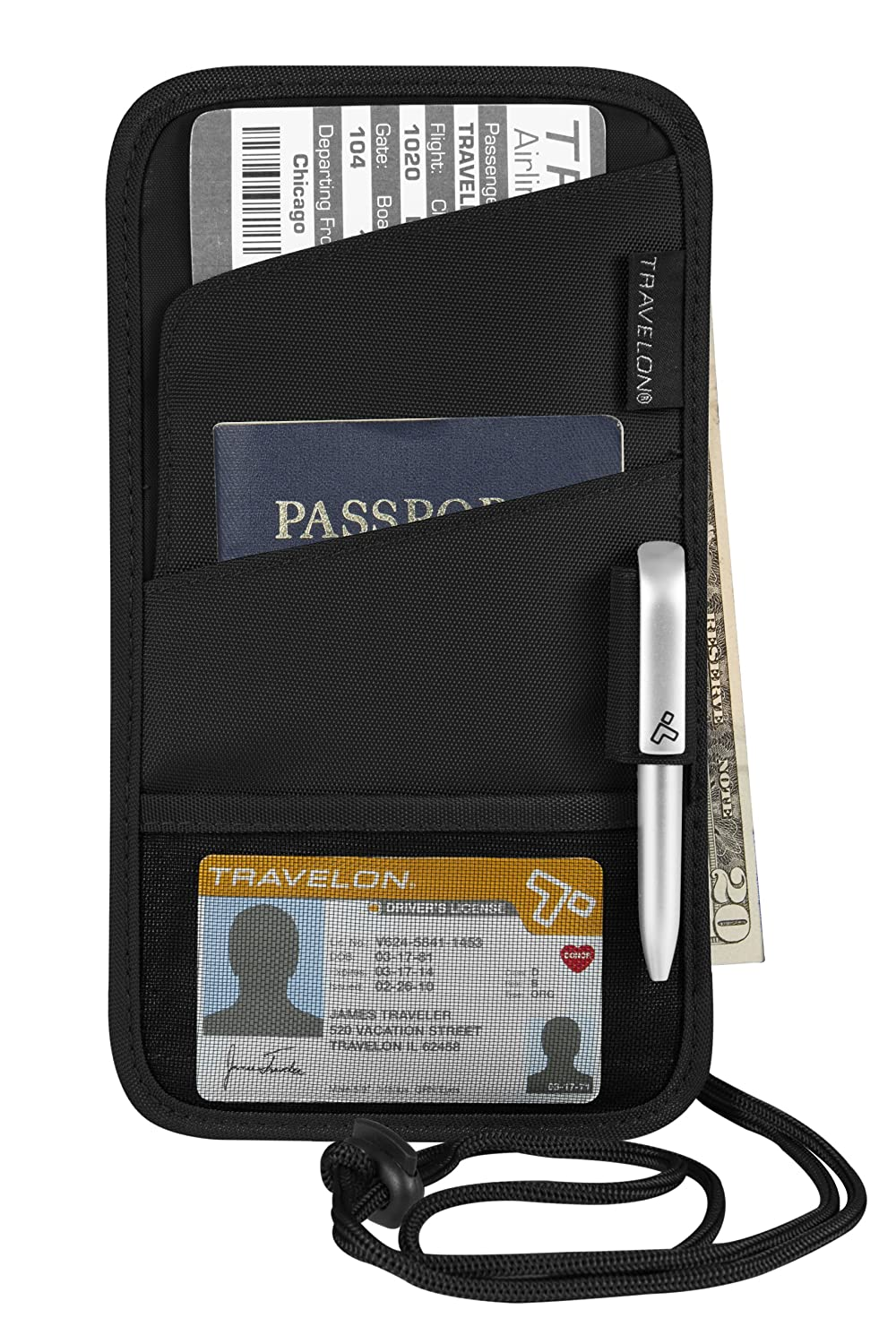 Travelon Id and Boarding Pass Holder, Black, One Size 42763 500