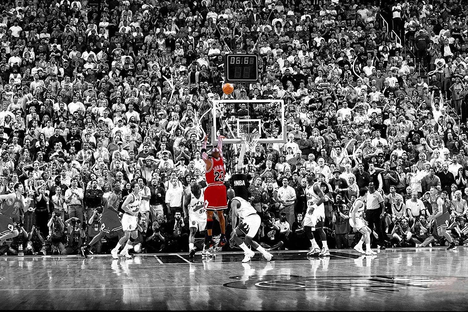 Amazon.com: Michael Jordan Chicago Bulls Last Shot 1998 (Basketball) Sports  Print - Matte Poster Frameless Gift 12 x 18 inch(30cm x 46cm)-MS-GZ024:  Posters & Prints