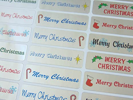 Labels for Cards Silver Happy Christmas Greeting Stickers Envelopes XS4512