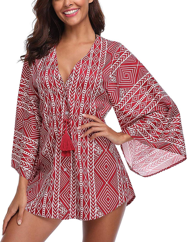 MEMORY BABY Camisolas Playa Mujer Impresión Geométrica Kimono Bikini Cover up