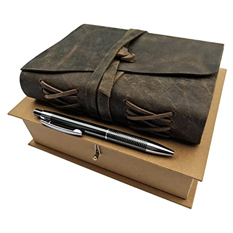 Image result for LEATHER JOURNAL GIFT SET Handmade Writing Notebook 7 x 5 Inches Unlined Paper, Rustic Leatherbound Daily Notepad For Men & Women, Ideal Present with Box, Secret Pen Holder and Luxury Metallic Pen