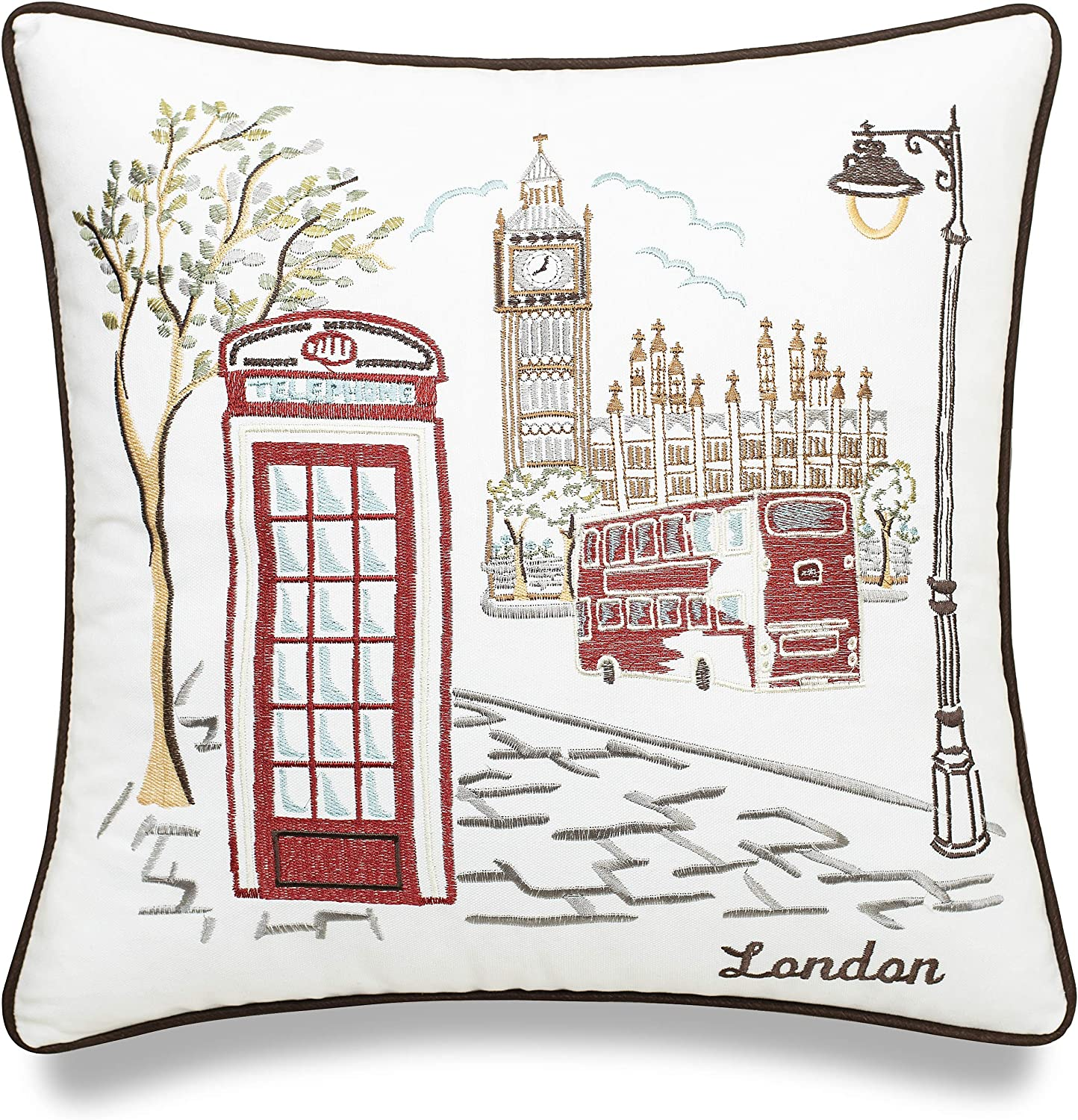 EURASIA DECOR London City Map 18x18 Embroidered Decorative Accent Pillow Cover - Birthday Decor, Graduation, New Home Gift