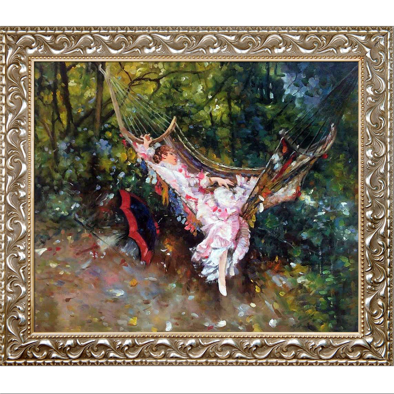 overstockArt La Pastiche The Hammock 1872-1874 by Boldini Artwork with Rococo Silver Frame