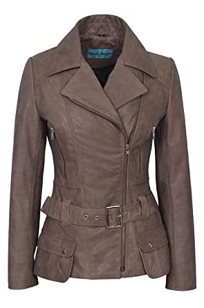 beb01a9d9 'Feminine' Ladies Vintage Old Look Washed Biker Style Designer Real Leather  Jacket 2812 Brown