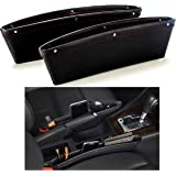 SkyRox Car Seat Gap Filler and Side Pocket Organizer - STOP DROPPING of Items in Between Seat and Console -Premium PU Leather Catch Caddy - Extra Storage Interior Car Accessories (2Pcs)