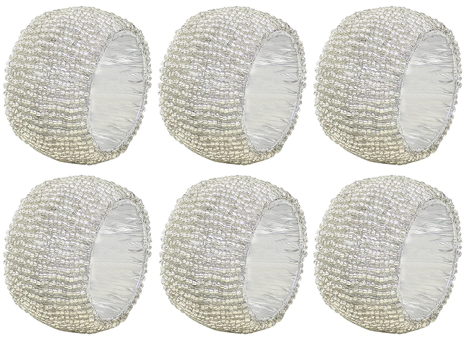 Set of 6 - napkin pack parcel hollow out round napkin rings for holiday dinner wedding party - dia 6.4 cm (argento) SKAVIJ RLM-napkin_ring_beaded_006_6