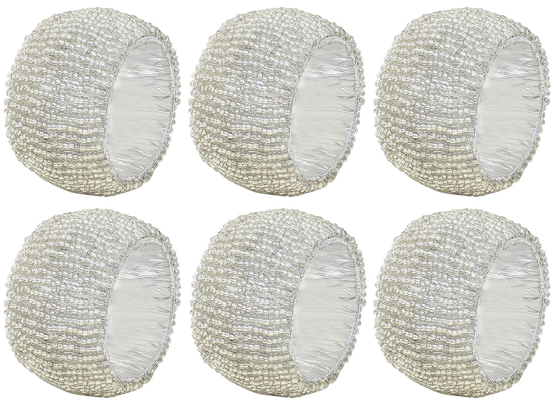 SKAVIJ portatovaglioli vacanza 12 pacco titolare tovaglioli di vetro insieme in rilievo bianco scava fuori artigianali - 6.4 cm M_napkin_ring_beaded_009_6