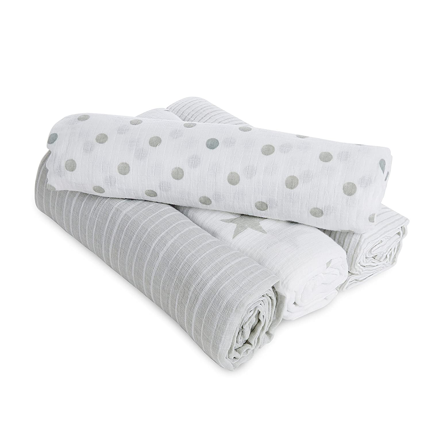 aden by aden + anais swaddle, 100% cotton muslin, 112cm X 112cm, 4 pack, dusty Aden and Anais G3103B