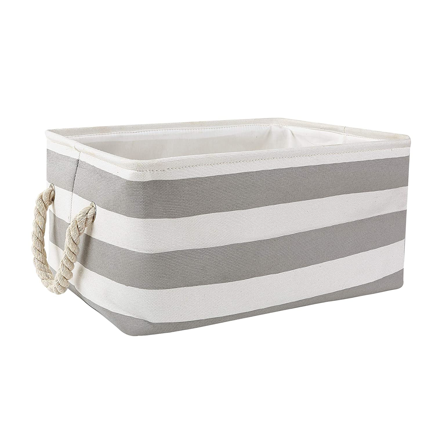 Storage Bin, Zonyon 15.7''L Rectangular Collapsible Linen Foldable Storage Container,Baby Basket,Hamper Organizer with Rope Handles for Boys,Girls,Kids,Toys,Office,Bedroom,Closet,Gift Basket,Grey