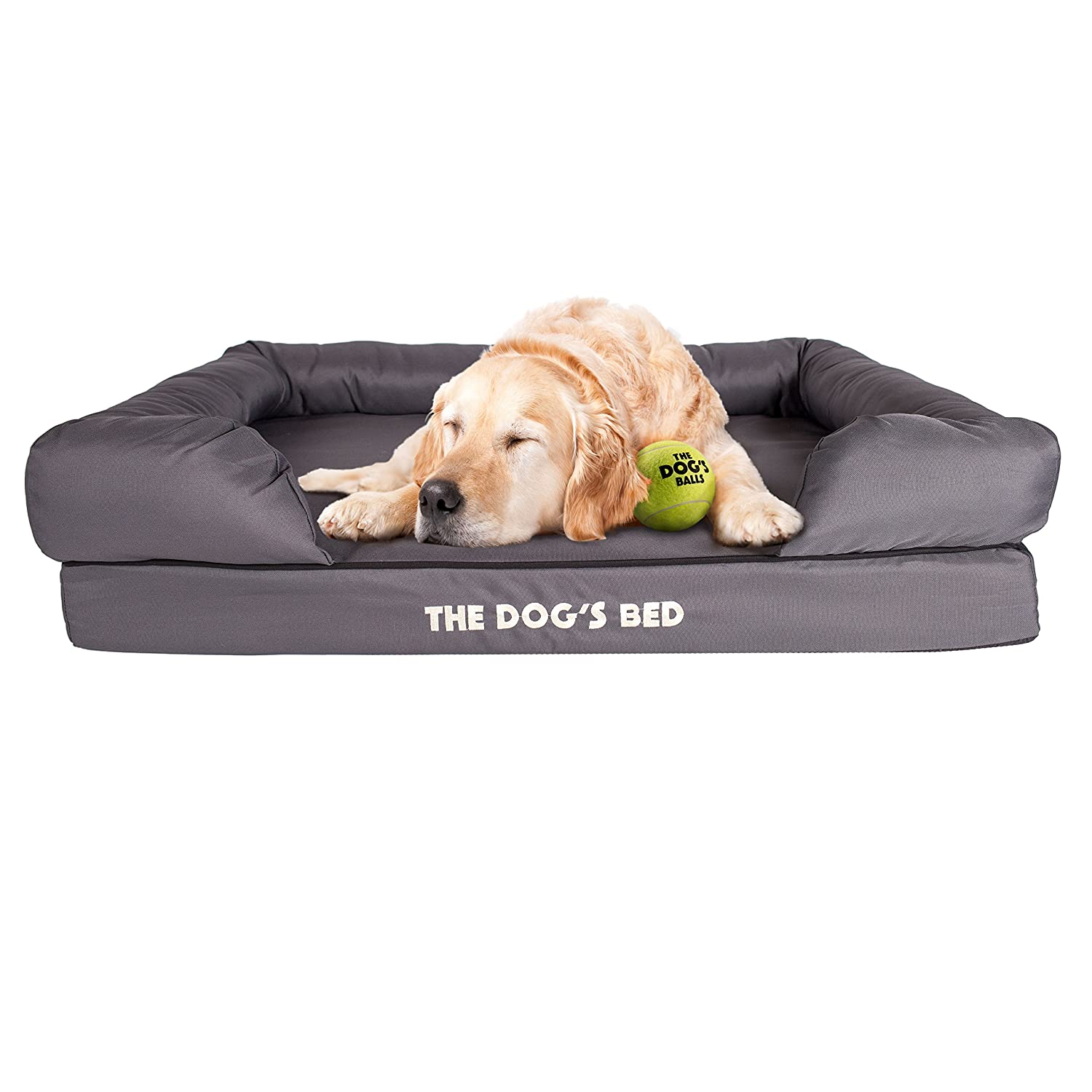 Grey Large Bed (36 x 27.5)Replacement Outer Cover (Cover ONLY  NO Bed) for The Dog's Bed, Washable Quality Oxford Fabric, XXL 54  x 36  x 6  (Grey with Black Piping)