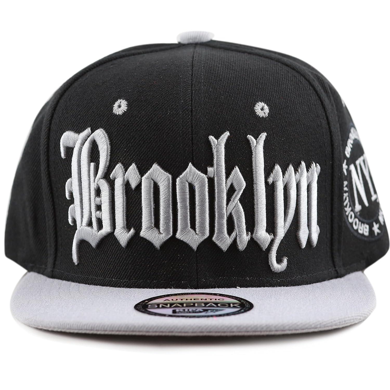 THE HAT DEPOT 1300 Premium Quality Brooklyn Flat Visor Snapback Baseball Cap  (Black Black) at Amazon Men s Clothing store  c33ef844ea98