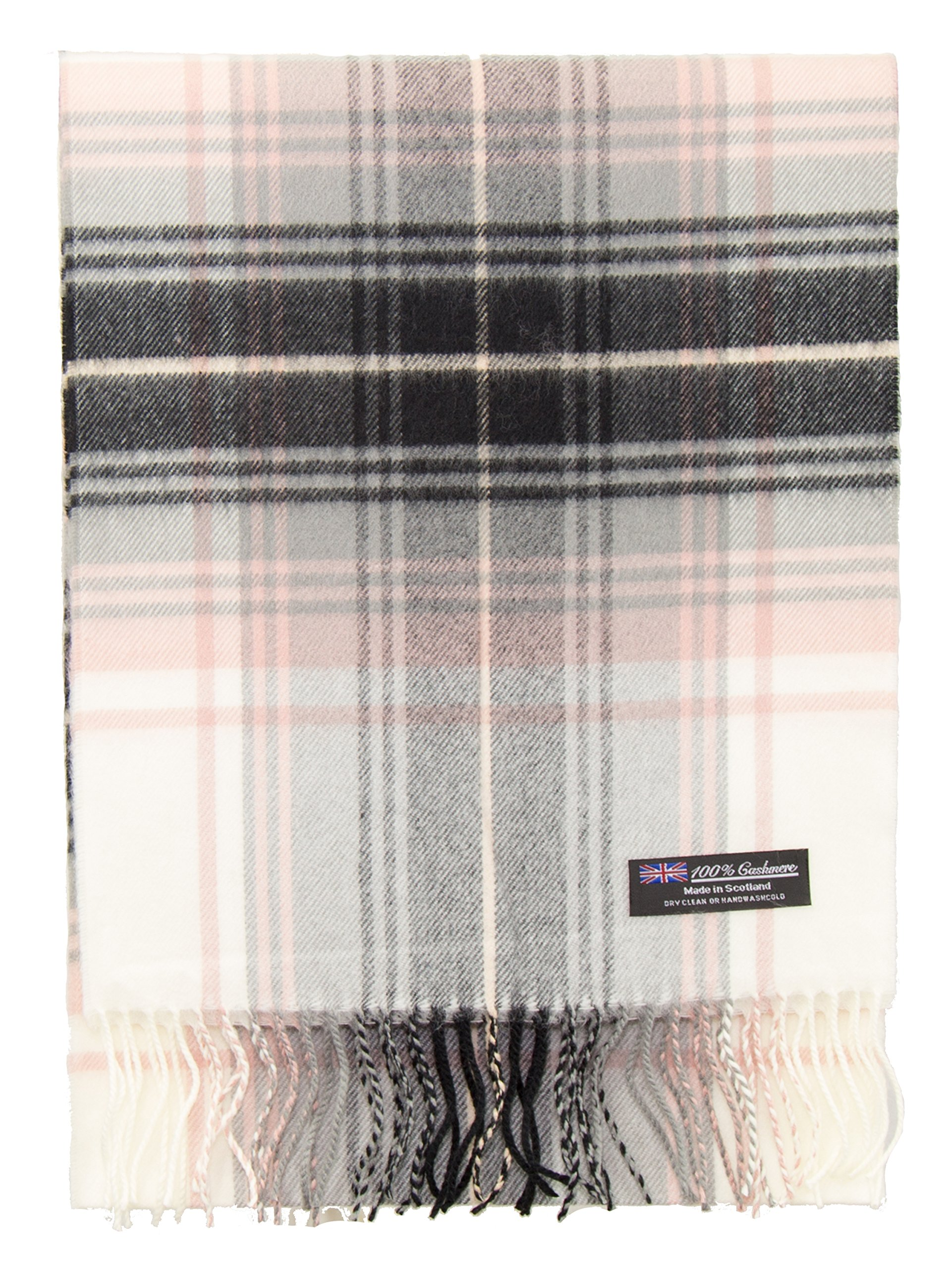 2 PLY 100% Cashmere Winter Scarf Elegant Collection Made in Scotland Warm Soft Wool Solid Plaid (Pink Cream Black 1612)