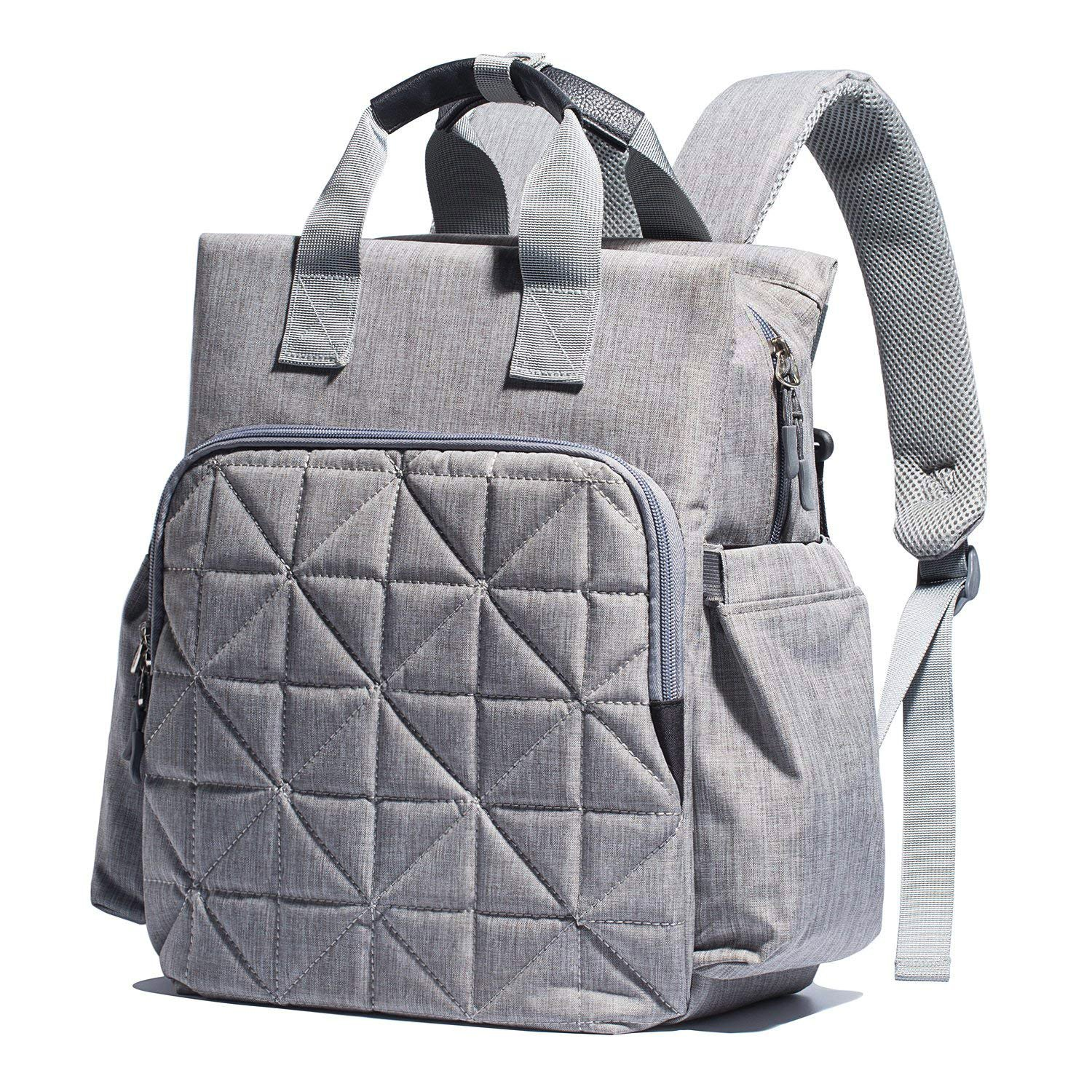 SoHo Kenneth Diaper Backpack 6Pc Tote Bag, Gray