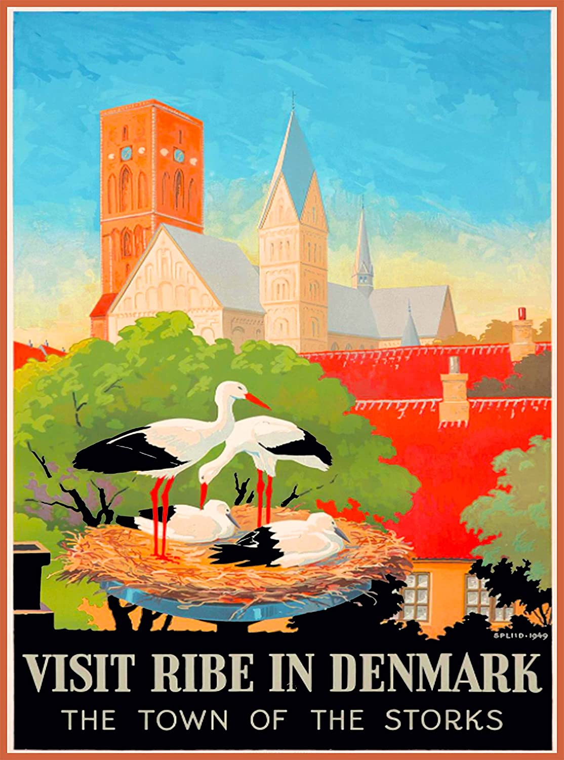 Visit Ribe in Denmark The Town of The Storks Danish Scandinavia Scandinavian Vintage Travel Home Collectible Wall Decor Advertisement Art Poster Print. Measures 10 x 13.5 inches.