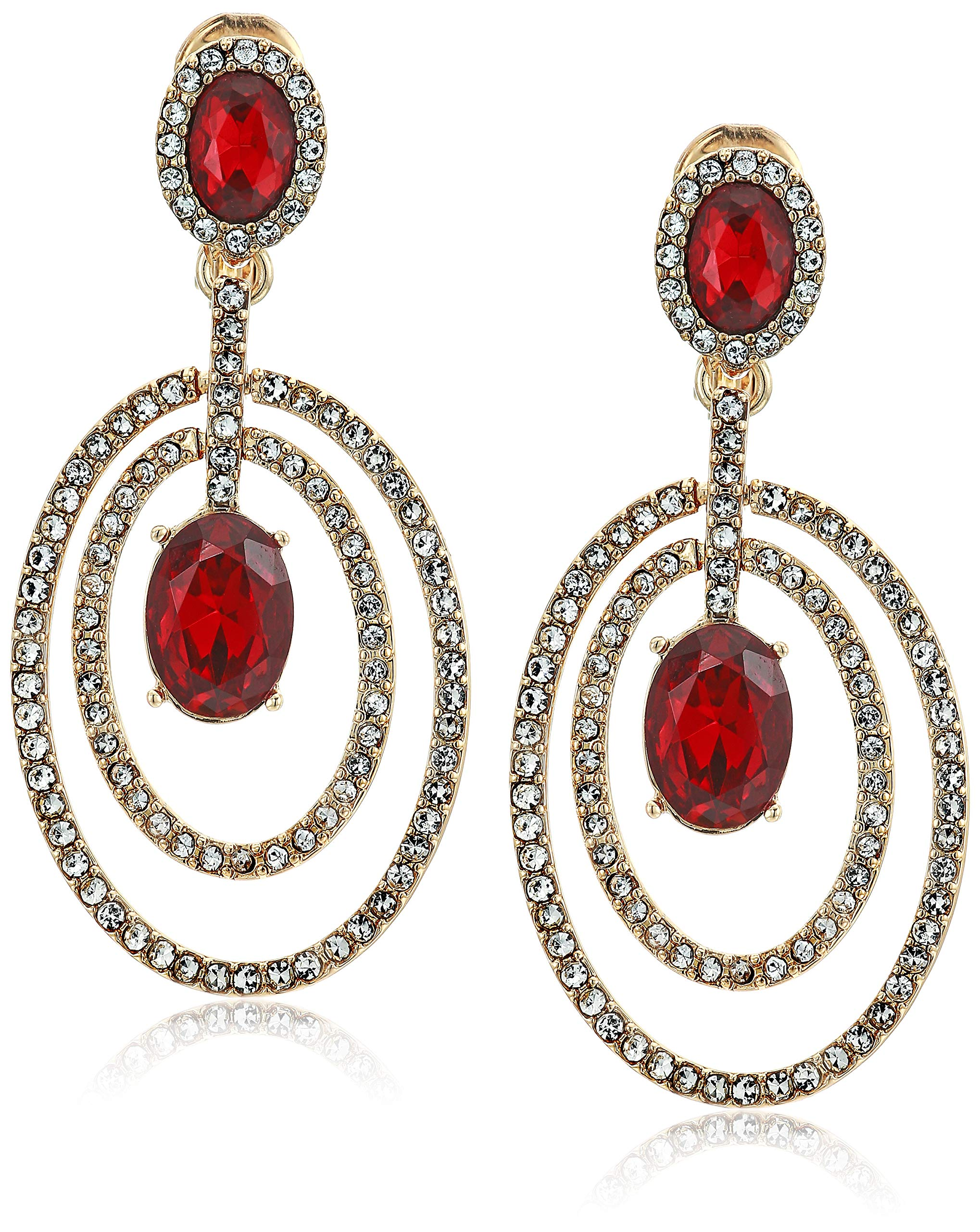 Anne Klein Women's Red Stone Orbital Clip Earrings, Size: 0