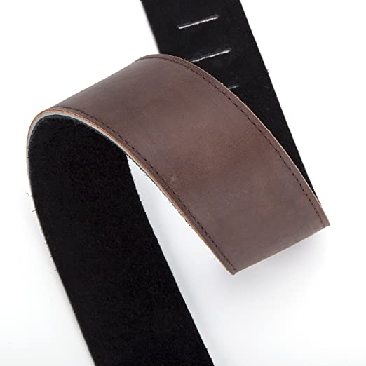 Amazon.com: #1 Best LEATHER GUITAR STRAP, for Electric, Acoustic, Bass, and Classical Guitar, Padded for Extra Comfort, Dark Brown, Includes 2 FREE Pick ...