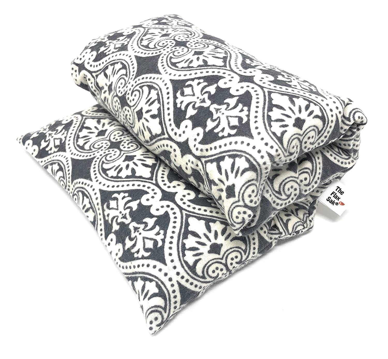 Christmas Gifts Under 50 | Microwavable Heating Pad for Back Pain | Hot Pack for Neck | Cold Compress After Surgery | XLG Unscented Grey Medallion Handmade in the U.S.A by Flax Sak