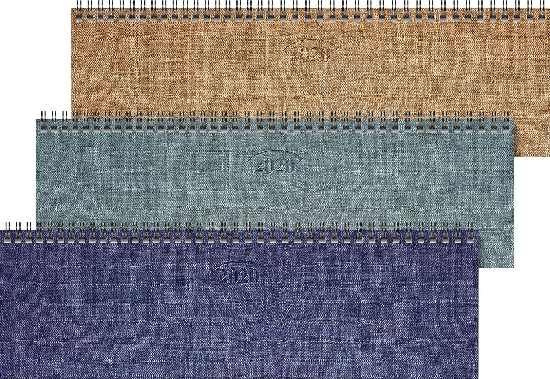 reliure /à spirale 1 semaine 32,6 x 10,2 cm Brunnen 1077101 771 Agenda de bureau avec couverture en carton Format moyen 2020