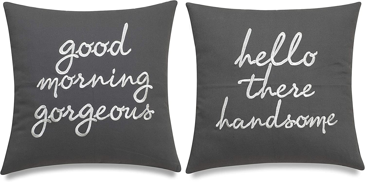 EURASIA DECOR Set of 2 Pcs Hello Handsome Good Morning Gorgeous Embroidered Square Accent Throw Pillow Cover - Gift for Wedding, Couple, Anniversary, Bedroom Decor - 18x18 Inches, Dark Grey