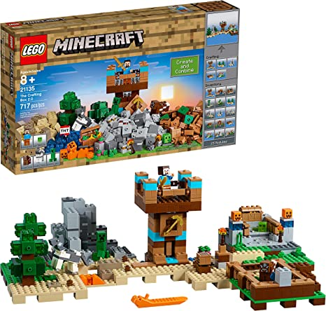 Amazon Com Lego Minecraft The Crafting Box 2 0 21135 Building Kit 717 Pieces Discontinued By Manufacturer Toys Games