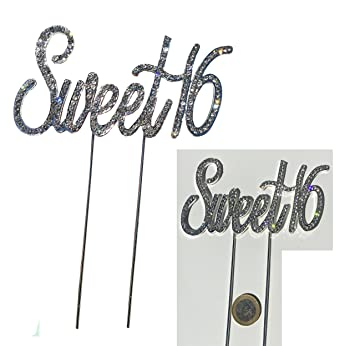 Elegant Sweet 16 Aufsatz 16er Geburtstag Topper Echte Strassteine Tortenaufsatz  Topfstecker Sweet Sixteen Party Deko Kuchendeko Tortendeko
