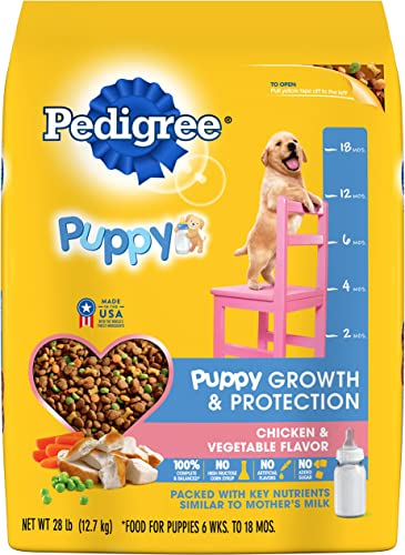 Pedigree Puppy Growth Protection Dry Dog Food Chicken Vegetable Flavor, 28 Lb. Bag Discontinued By Manufacturer