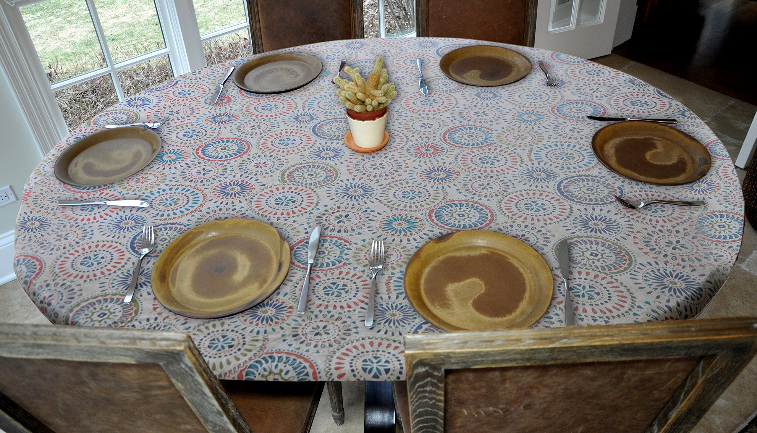 Elastic Edged Flannel Backed Vinyl Fitted Table Cover - Multi-Color Geometric Pattern - Oblong/Oval  Fits Tables Up to 48''W x 68''L