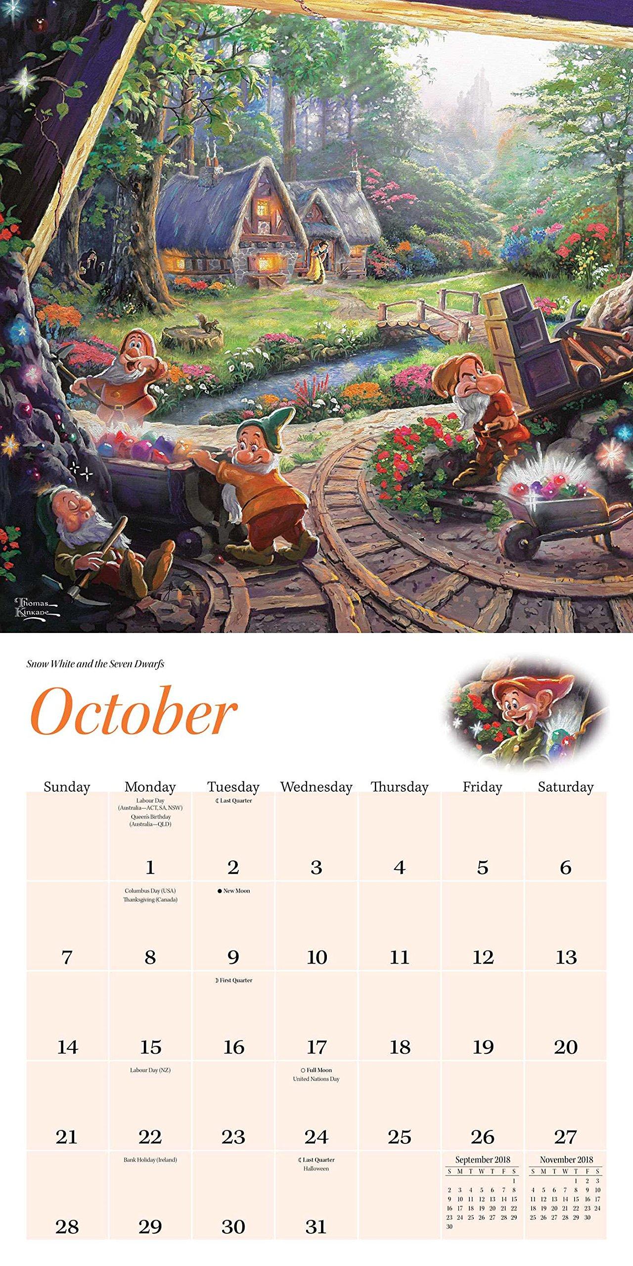 Amazon Thomas Kinkade The Disney Dreams Collection 2018 Wall – Photo Calendar