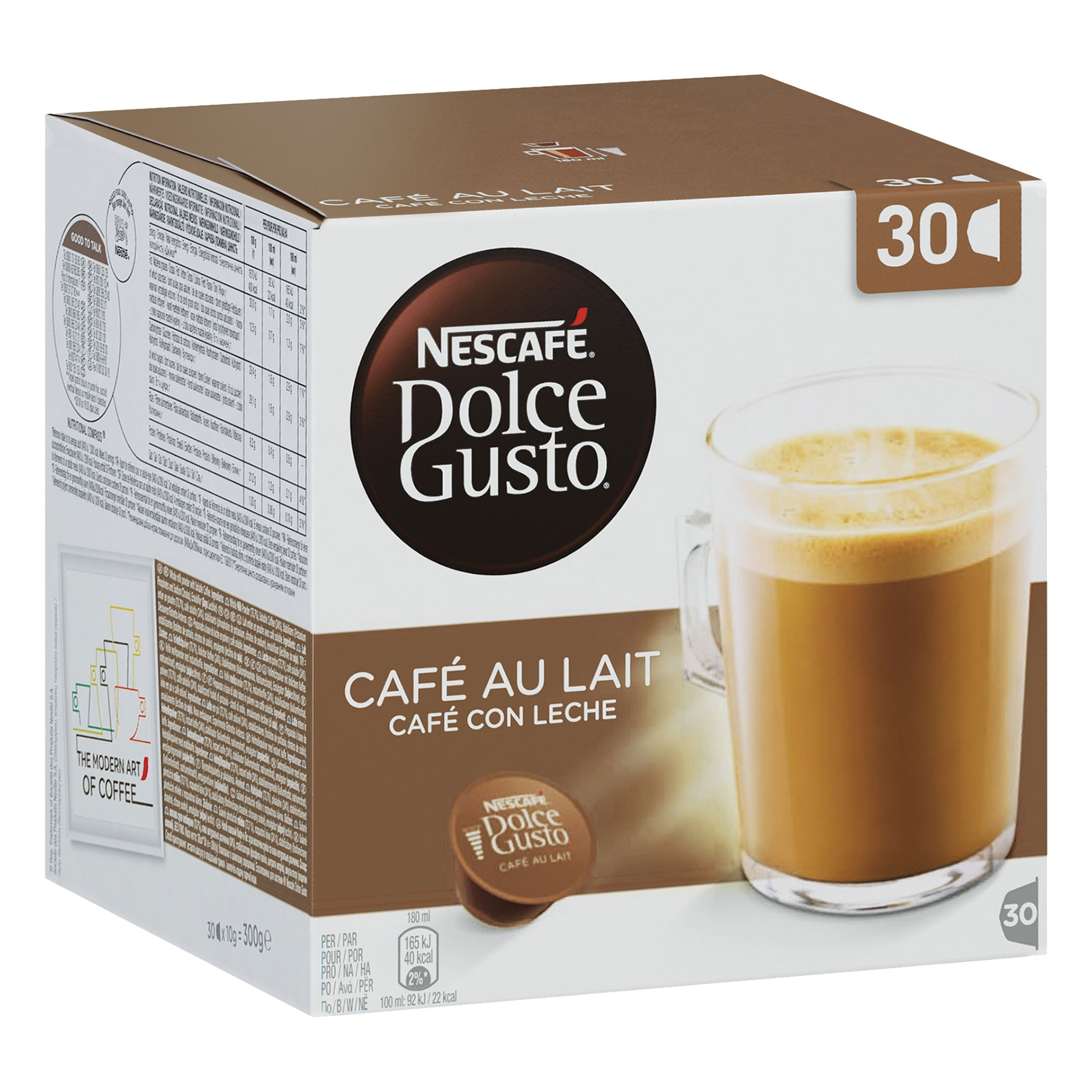 Nescafe Dolce Gusto Café Au Lait Coffee Pods (Pack of 3, Total 90 Capsules)