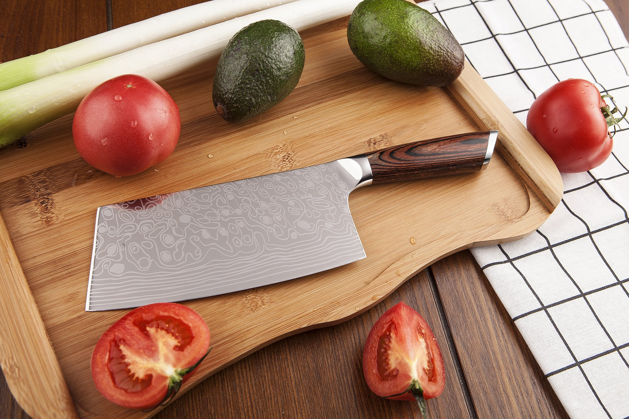 EKUER 7-Inch Chinese Chef's Meat Chopper Cleaver Butcher Vegetable Knife for Home Kitchen or Restaurant,German High Carbon Stainless Steel by EKUER (Image #4)