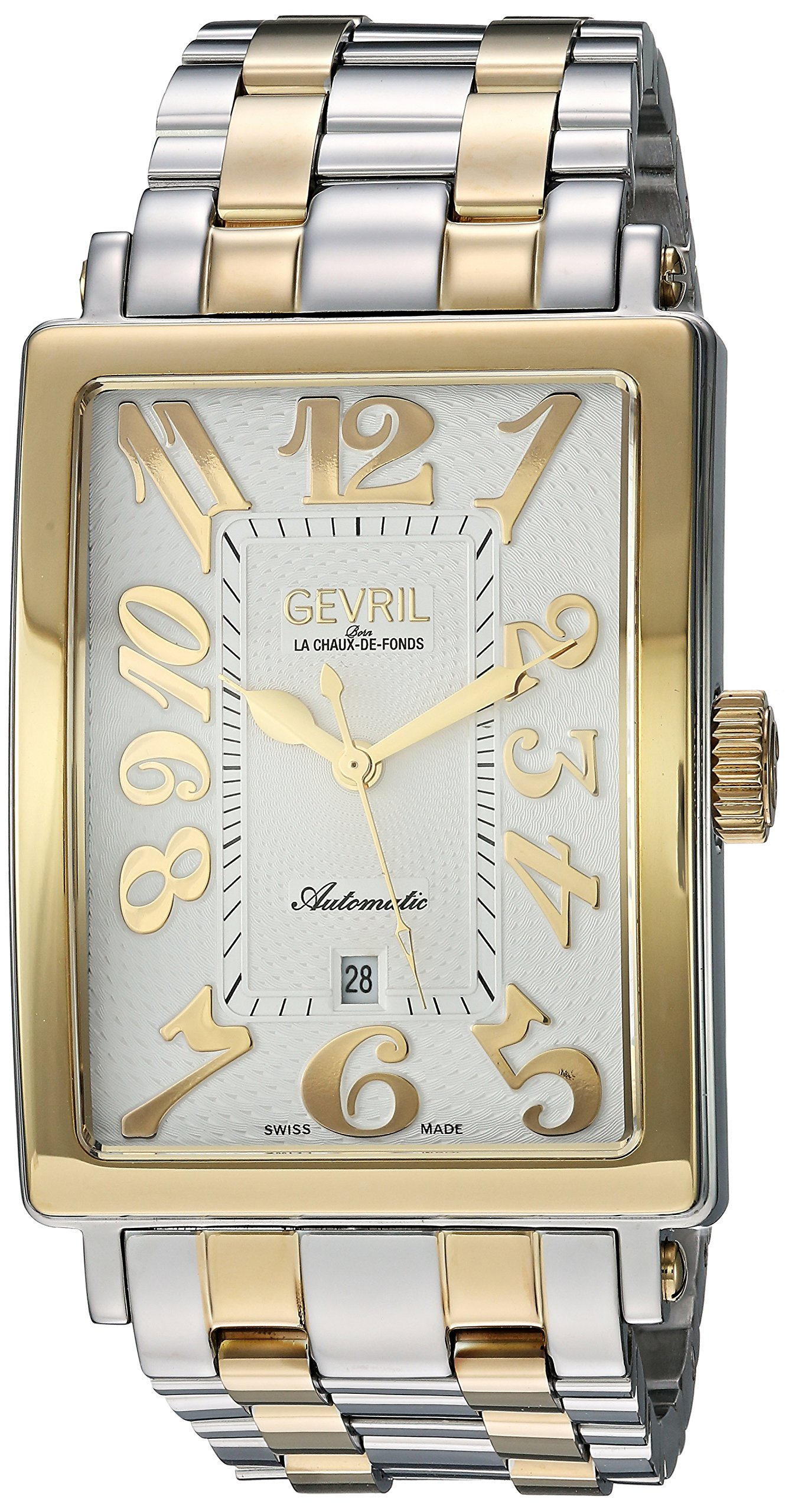 Gevril Avenue of Americas Mens Swiss Automatic Rectangle Two Tone Stainless Steel Bracelet Watch, (Model: 5063B)